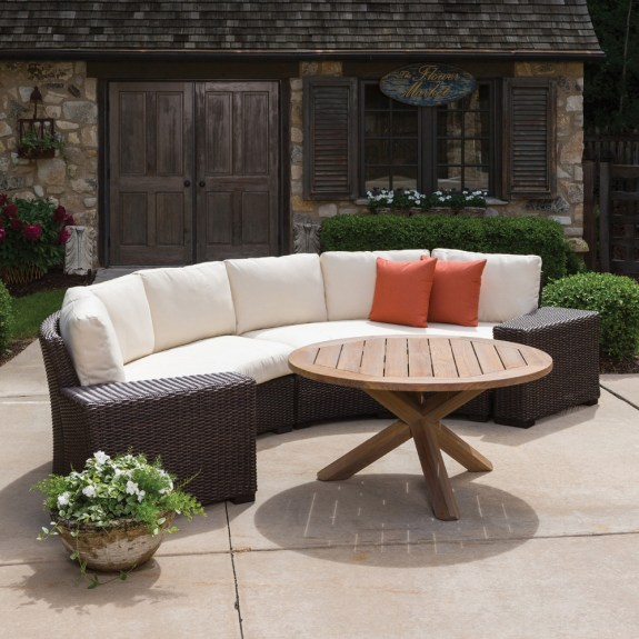 curved outdoor sectional patio furniture Lloyd Flanders Mesa Curved Wicker Sectional Set with Teak