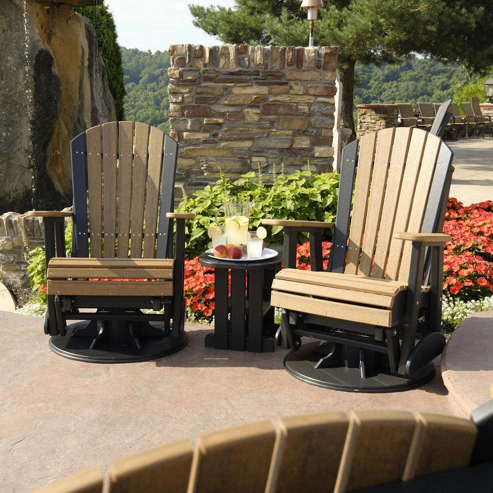 luxcraft adirondack poly swivel glider patio set