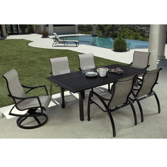 mallin heritage sling modern patio dining set for 6