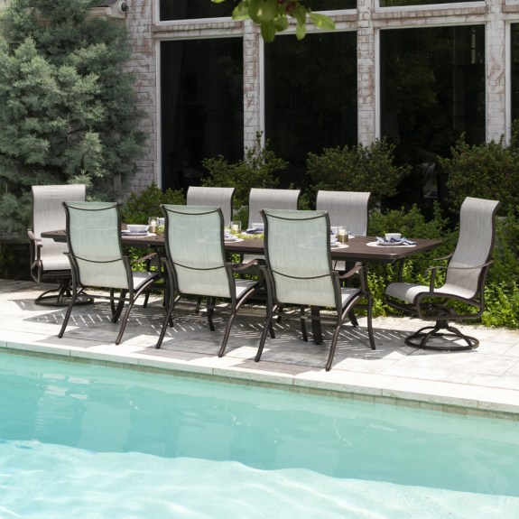 mallin scarsdale aluminum sling outdoor dining set for 8