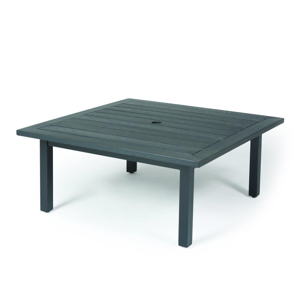 mallin trinidad woodgrain 42 square coffee table with umbrella hole