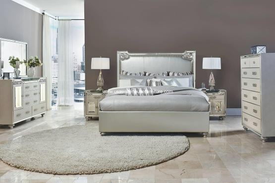 Michael Amini Bedroom Set | Michael Amini 4 Pc Bel Air Park Upholstered Bedroom Set