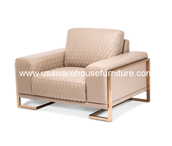 Gianna Peach RoseGold Leather Chair & A Half