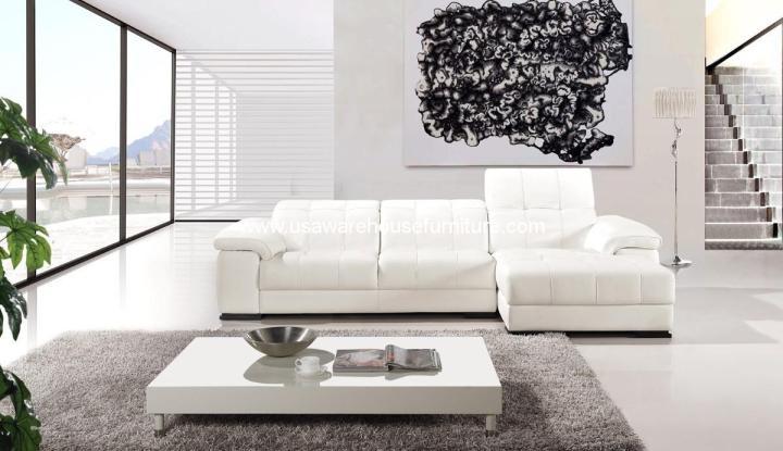 2 Piece Diva Casa Italian Top-Grain White Leather Sectional Sofa Set