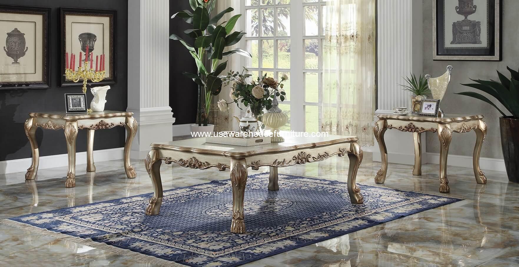 Dresden Gold Patina 3 Piece Coffee Table Set Usa Warehouse Furniture