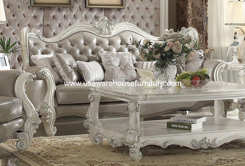 Versailles Wood Trim Sofa In 2 Tone Dark Brown ACME-52120