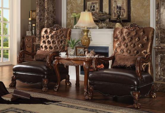 Dresden Accent Chair & End Table Golden Brown Velvet
