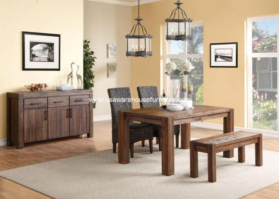 Meadow Rustic Solid Wood Dining Set