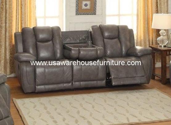austin full top grain leather reclining sofa usa warehouse furniture. Black Bedroom Furniture Sets. Home Design Ideas