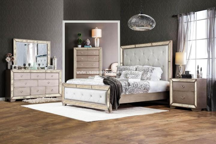 Loraine Antique Silver Mirrored Bed CM7195