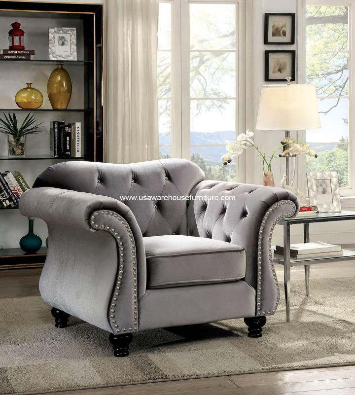 Jolanda Button Tufted Gray Fabric Chair