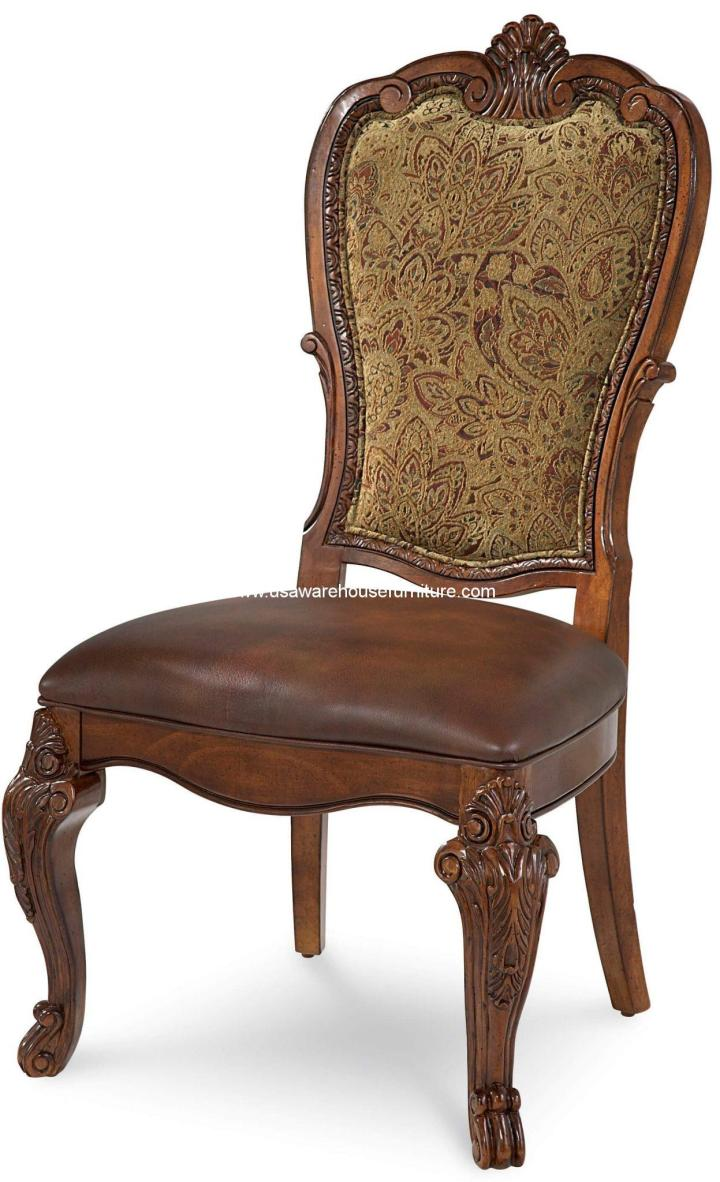 Old World Upholstered Back Dining Side Chair