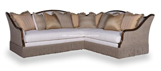 Ava Creme Wood Trim Luxury Sectional Set