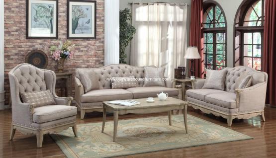 3 Piece Ashden Polyester Fabric Sofa Set