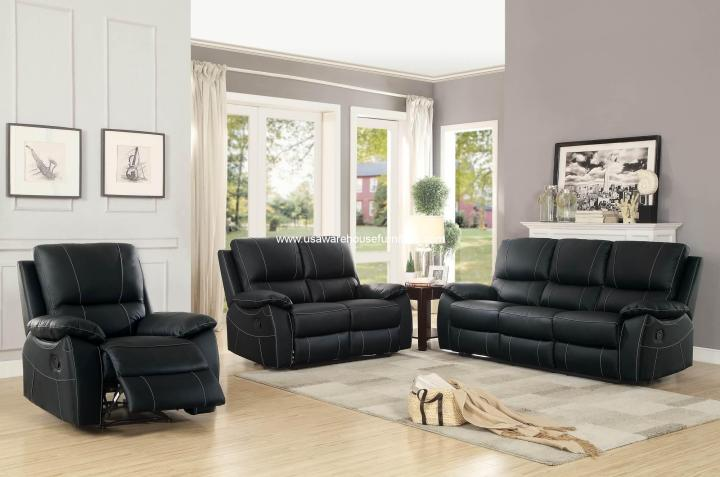 Greeley Top Grain Black Leather Reclining Sofa Set