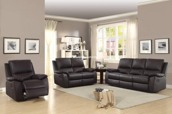 Greeley Top Grain Brown Leather Reclining Sofa Set