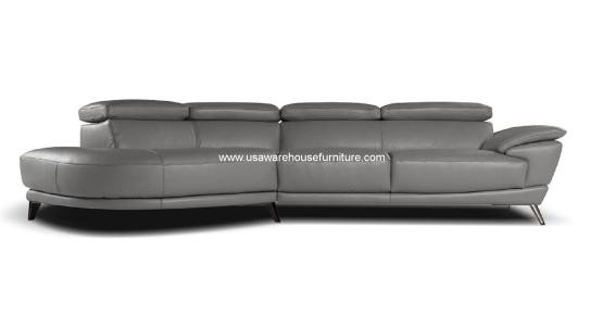 2 Piece Marisol Italian Grey Leather Sectional