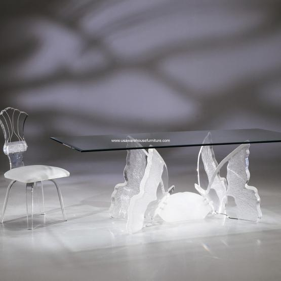 Acrylic Butterfly II Rectangular Dining Table