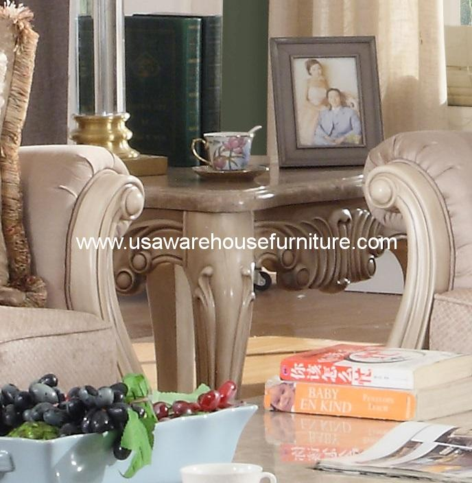 . Mcferran Furniture SF8701 Natalie Marble Top Antique Beige End Table