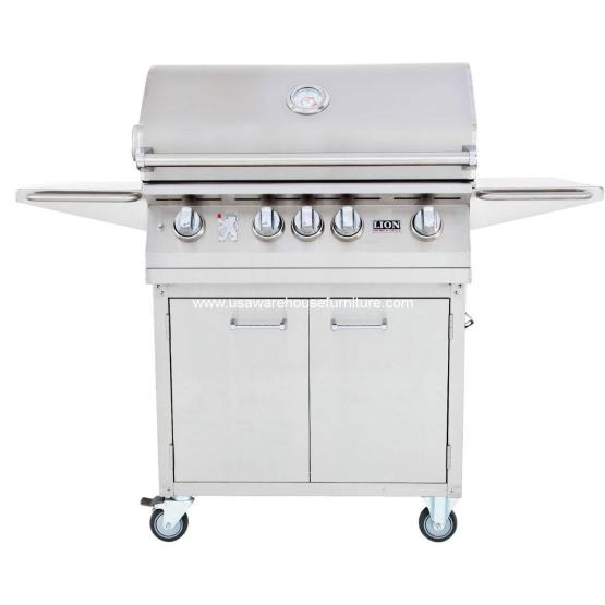 4 Burners Premium Grills 32 Lion - L75000 Stainless Steel Cart