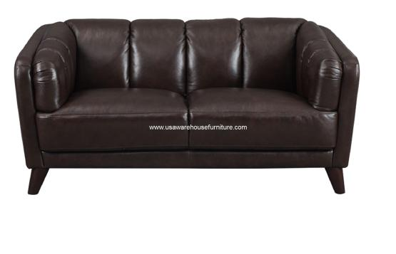Frances Dark Brown Leather Loveseat