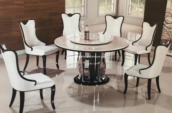 Lemma Marble Round Dining Set