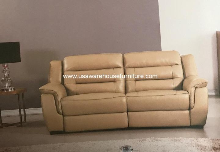Lago Tan Italian Leather Power Recliner Sofa