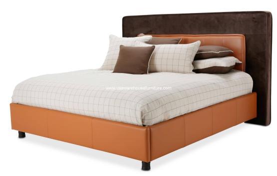 21 Cosmopolitan Orange Upholstered Tufted Bed
