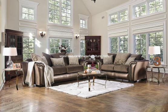 2 Piece Benigno Bronze Velvet Fabric Sofa Set