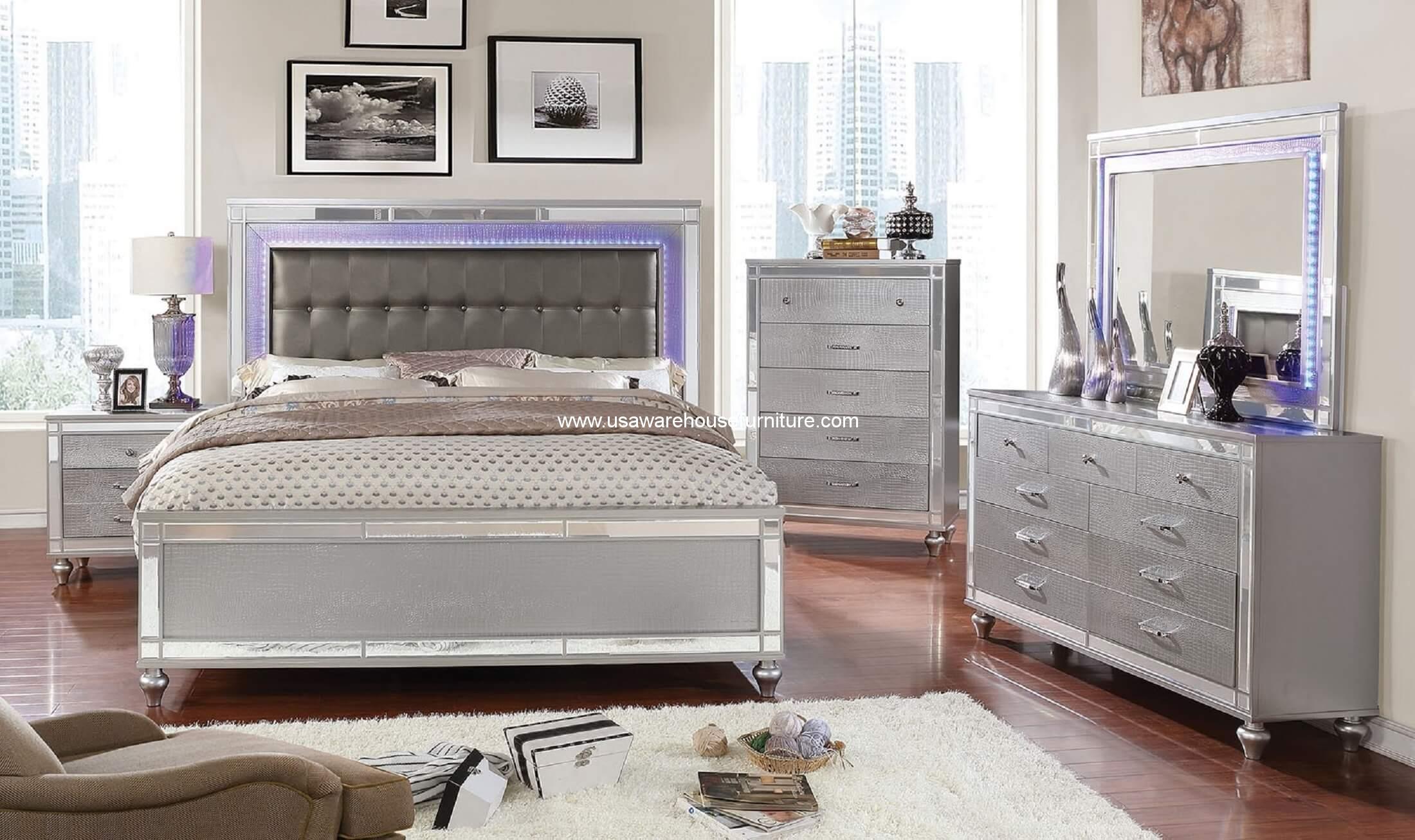 4 piece brachium modern led bedroom set