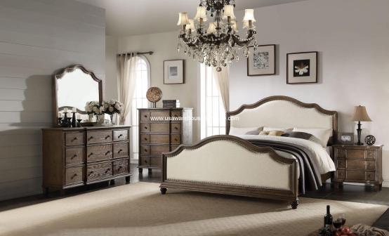 4 Piece Baudouin Bedroom Set Weather Oak