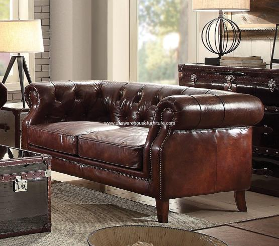 Aberdeen Vintage Brown Leather Loveseat