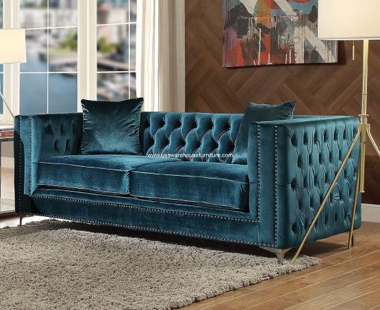 Gillian Sofa Dark Teal Velvet Usa Warehouse Furniture
