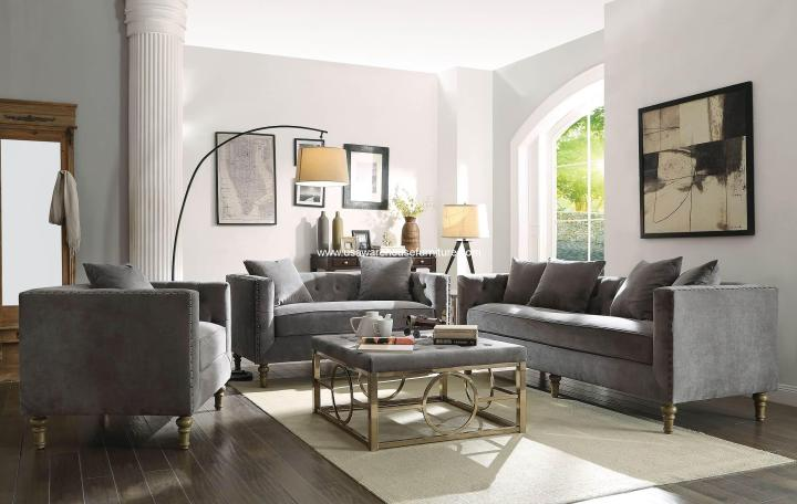 Sidonia Sofa Set Gray Velvet