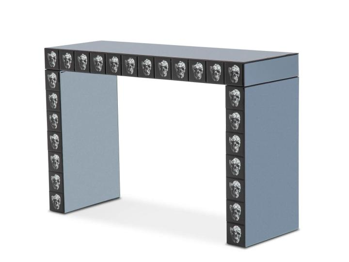 Micheal Amini Montreal Mirrored Skull Decor Console Table