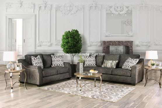 2 Piece Coralie Charcoal Sofa Set