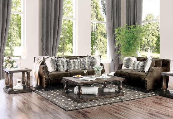 2 Piece Cornelia Dark Brown Sofa Set