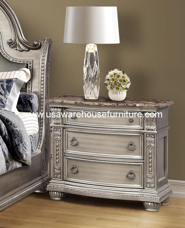 B9506 Catalina 3 Drawer Nightstand With Marble Top