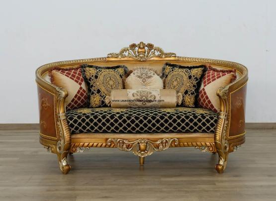 Luxor II Loveseat Gold Black Fabric