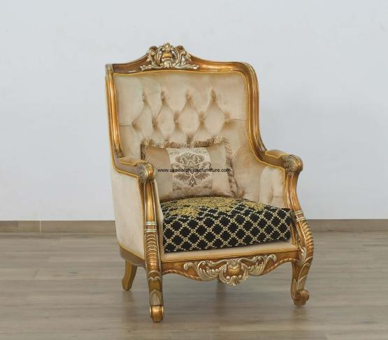 Luxor Accent Chair Gold Black Fabric