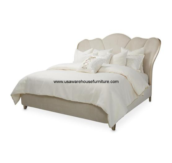4 Piece Michael Amini Eden S Paradise Poster Bedroom Set: 4 Piece Michael Amini Villa Cherie Channel Tufted Bedroom