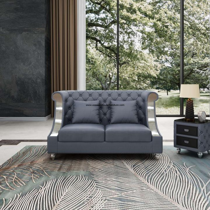 Mayfair Loveseat Gray Premium Leather
