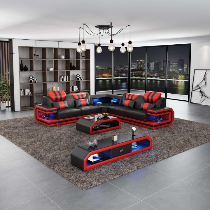 Lightsaber LED Modern Sectional Red Italian Leather