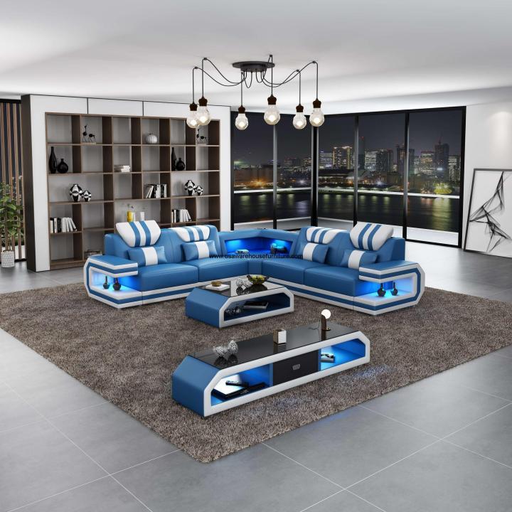 Lightsaber LED Modern Sectional Blue Italian Leather