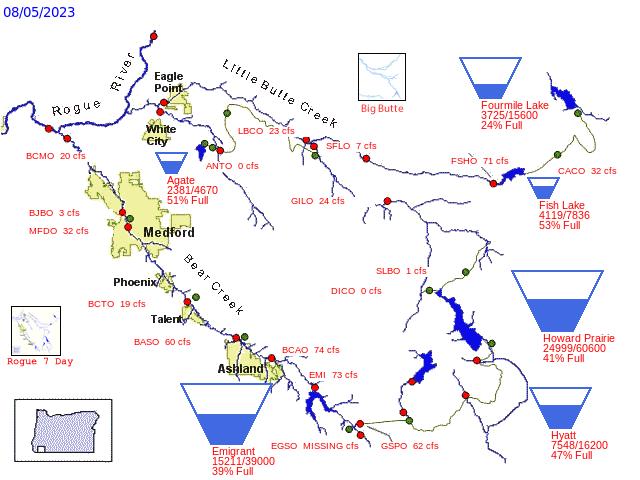 Bear Creek and Little Butte Creek map