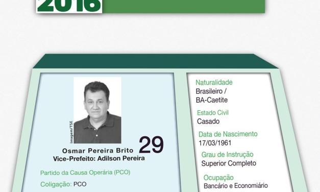 Conheça as propostas de Osmar Pereira Brito (PCO)