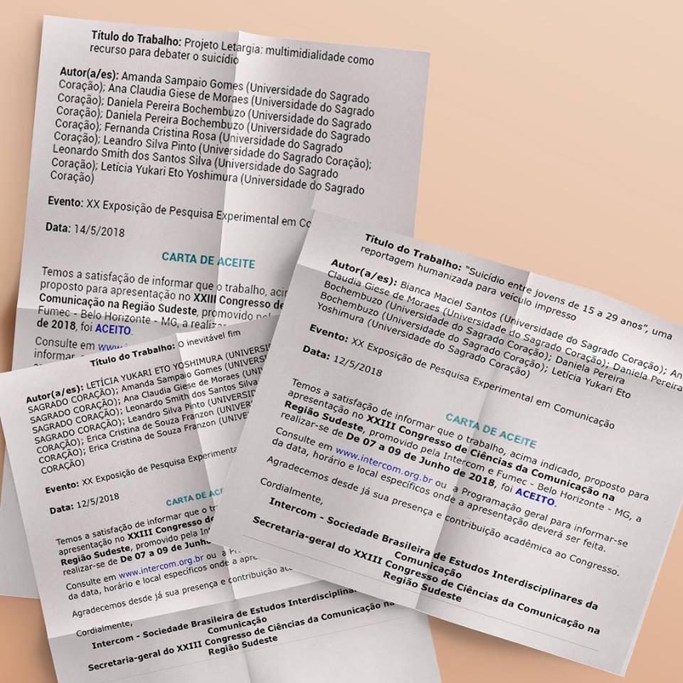 Carta de aceite do Letargia e de dois outros trabalhos acadêmicos, ambos integrantes do Projeto. Foto: Reprodução/Facebook