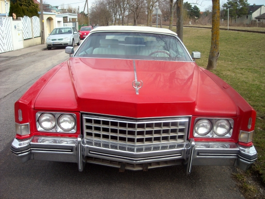 Cadillac Eldorado convertible 8.2l V8 Bj. 1973 100,500 miles Red color automatic transmission Electric hood (new) White leather inside Best condition, serviced engine and much more.