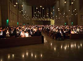 Our Lady of the Angels Cathedral is lit by candles as people gather for the Easter Vigil in Los Angeles March 30, 2013. CNS photo/Victor Aleman, Vida Nueva