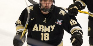 The visiting Army West Point Black Knights defeated the Bentley University Falcons 5-1 on Friday, February 16, 2018, in the first game in the new Bentley Arena in Waltham, Massachusetts. (Melissa Wade)